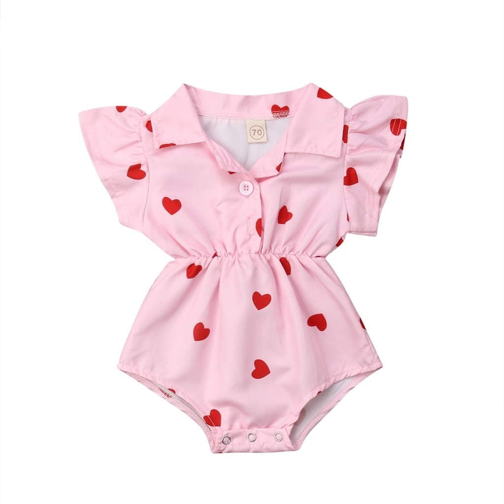 Lovely Summer Infant Newborn Baby Girl Clothing Leopard Heart Ruffles Baby Girls Rompers Valentine's