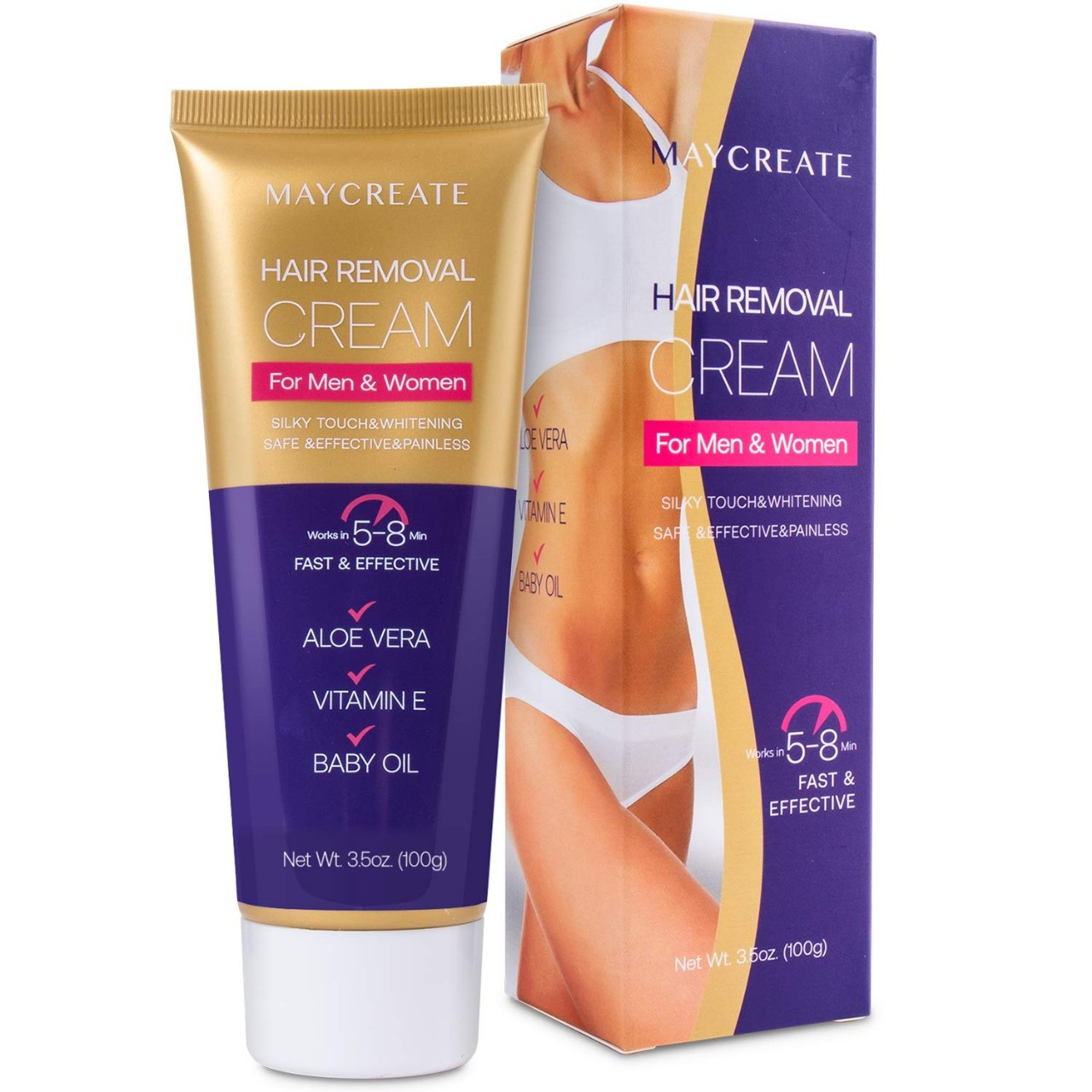 Maycreate Hair Removal Cream, Depilatory Cream, Hair Remover for Men and Women, Natural Painless