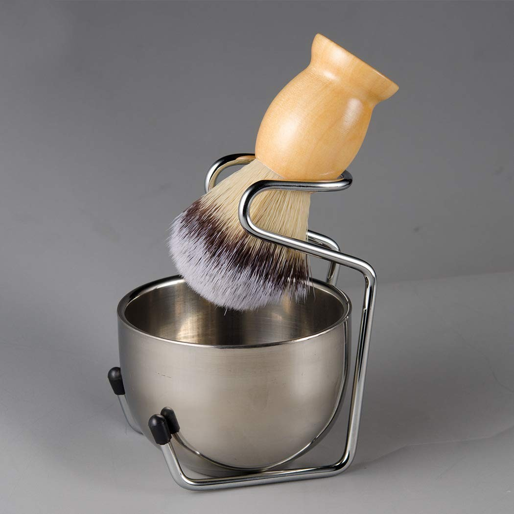 Mens Shaving Grooming Sets, Beautiful Stainless Steel Shaving Soap Bowl and Shaving Stand Brush