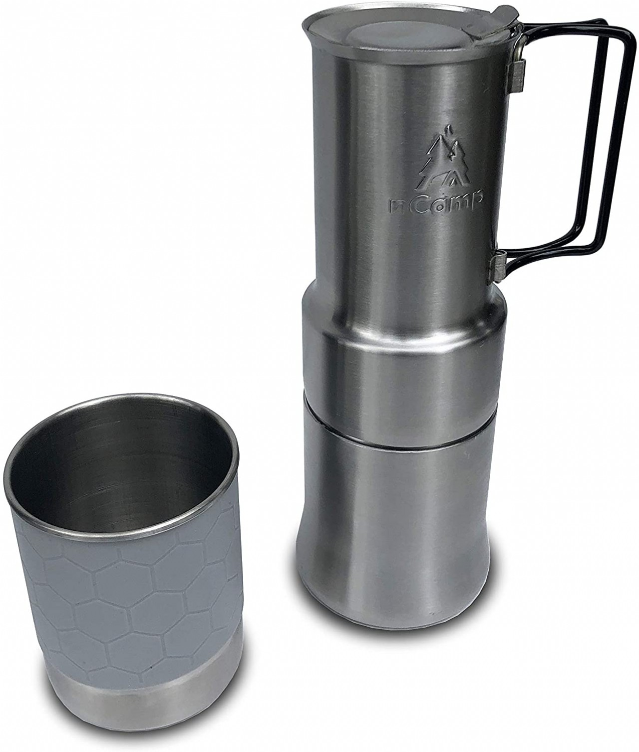 nCamp Portable Camping Coffee Maker, Compact Espresso Style, Stainless Steel Stovetop Cafe Gear
