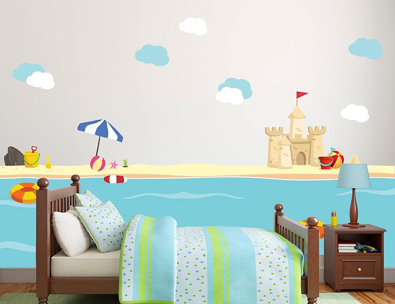 New Sea World Beach with Sand Castle Kids Room Decor Vinyl Theme Wall Decal Art - Boy Girl Unisex