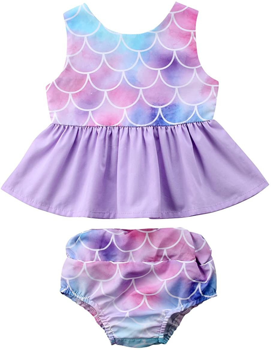 Newborn Baby Girl Clothes Mermaid Fish Scale Tutu Ruffle Dress with Shorts Pants Toddler Infant
