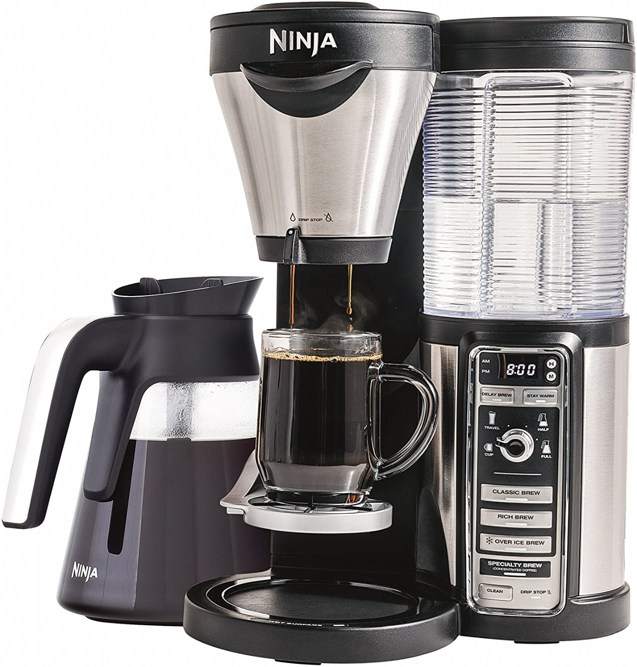 Ninja Coffee Maker for Hot/Iced/Frozen Coffee with 4 Brew Sizes, Programmable Auto-iQ, Milk Frother,