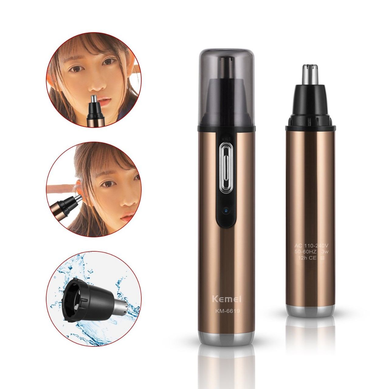 Nose Hair Trimmer,Bienna Electronic [Rechargeable] [Waterproof] Stainless Steel Nose Ear Clipper