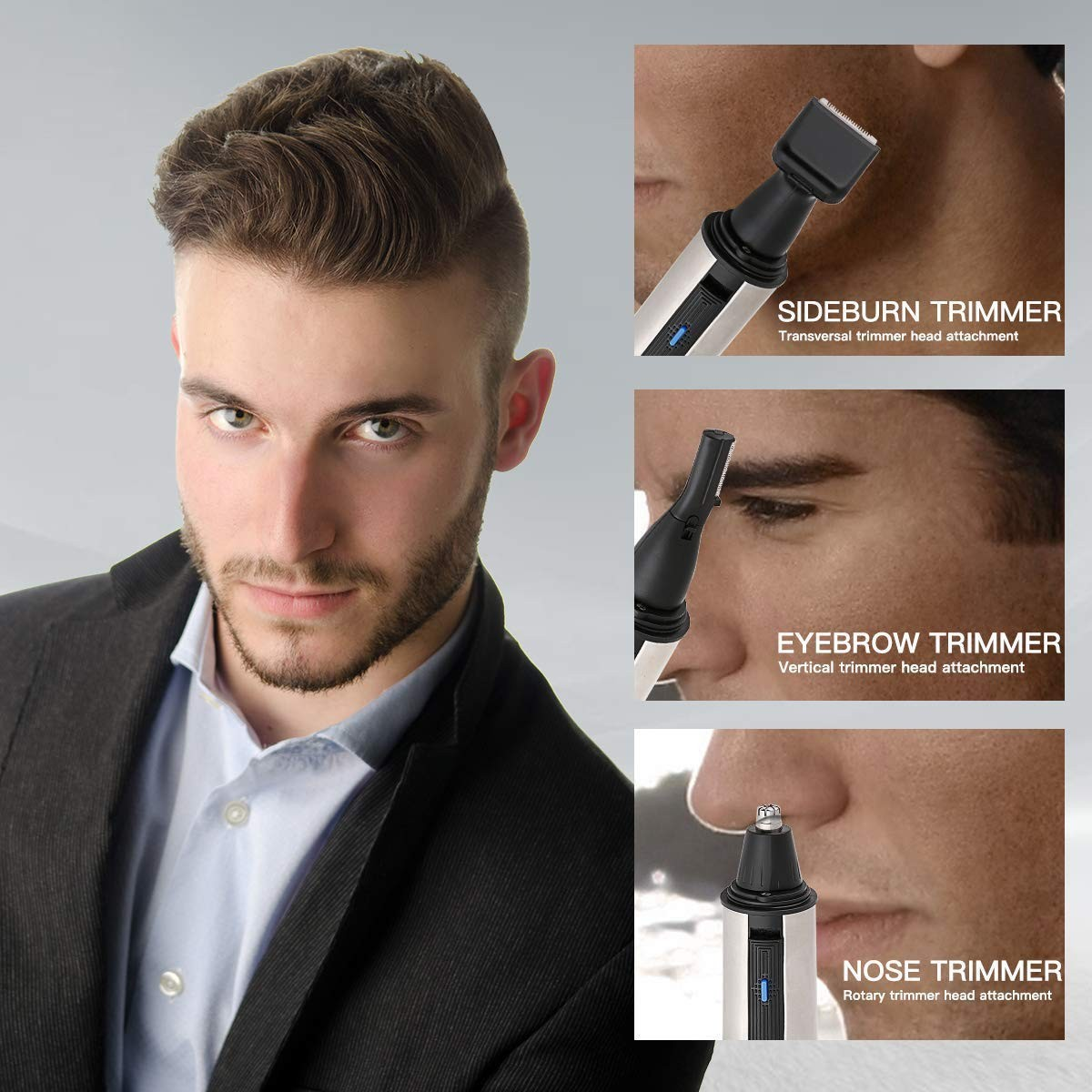 Nostril Nasal Hair Clippers Trimmers Removal, Ear Nose Hair Beard Brow Trimmer Clipper Waterproof