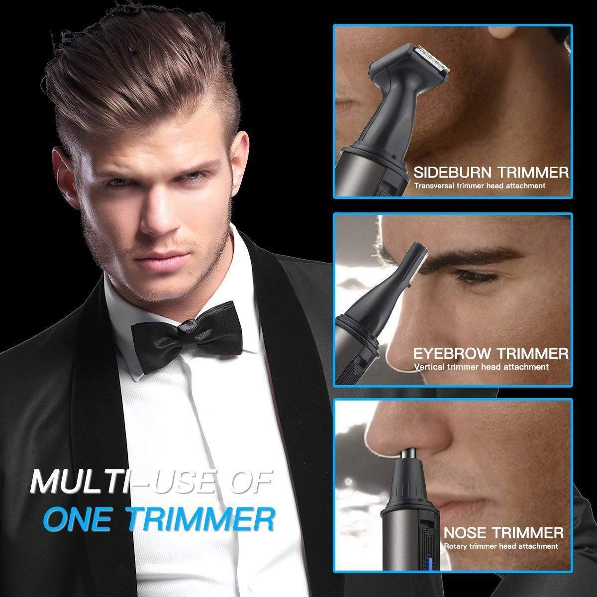 Nostril Nasal Hair Clippers Trimmers Removal, Nose Ear Beard Eyebrow Facial Body Hair Trimmer