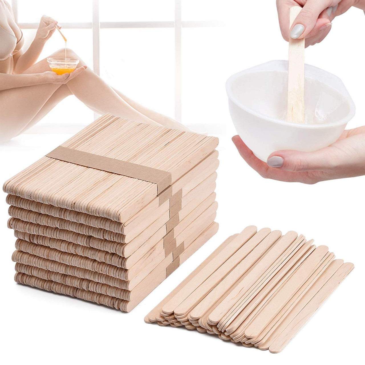 Noverlife 500 PCS Wax Applicator Sticks, Large Popsicle Sticks, Wooden Craft Eyebrow Waxing Sticks