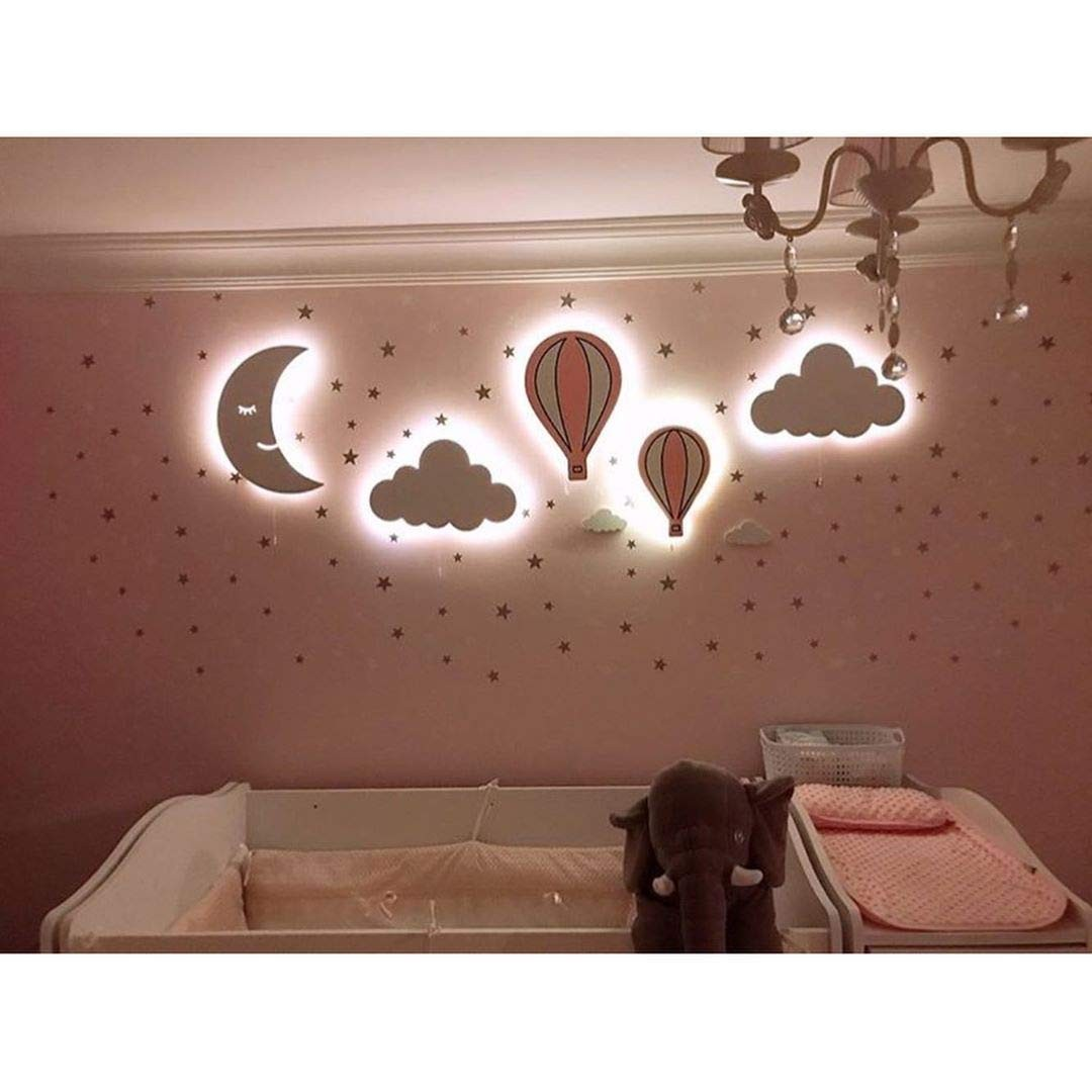 Nursery Boys Baby Kids Room Decor Wall Light Set of 5 Wooden Night Light with Led (Baby Pink)