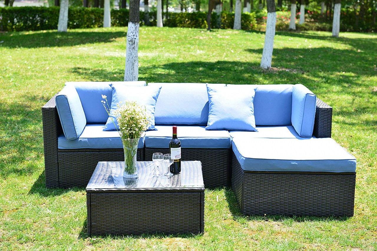 Outdoor Patio Furniture Set Cushioned PE Rattan Sectional ...