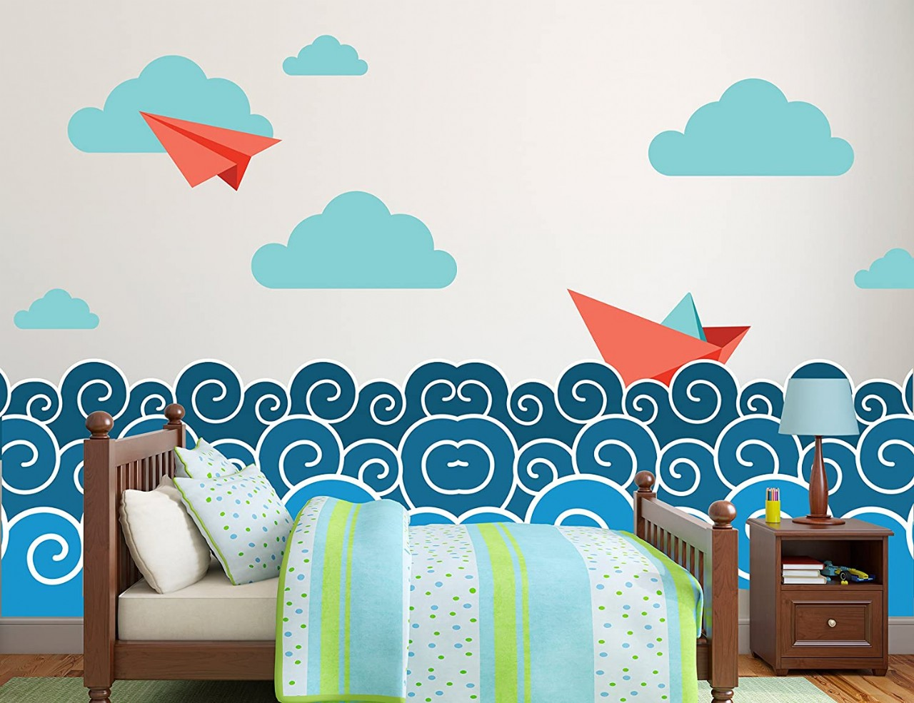 Paper Plane and Boat Theme Wall Decal - Kids Room Decor For Home Interior Decoration Car Laptop