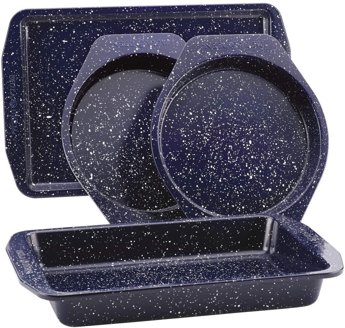 Paula Deen 46812 Nonstick Speckled Bakeware Set44; Deep Sea Blue Speckle - 4 Piece