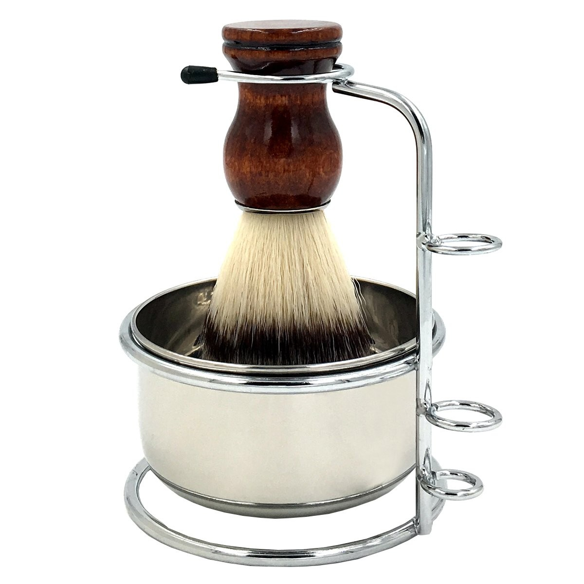 PerPro Mens Shaving Grooming Sets, Beautiful Stainless Steel Shave Bowl and Shaving Stand Brush