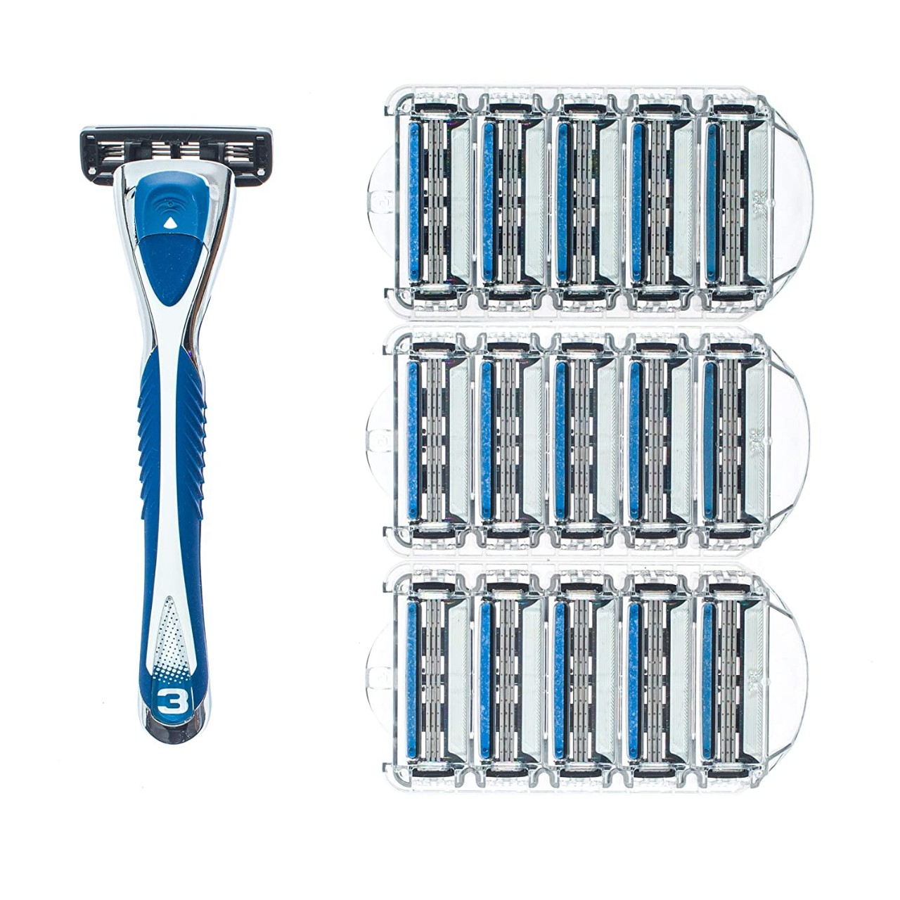 Personna Men's 3 Blade Razor System - Mens Shaving Razors - Razor Handle with 15 Replacement