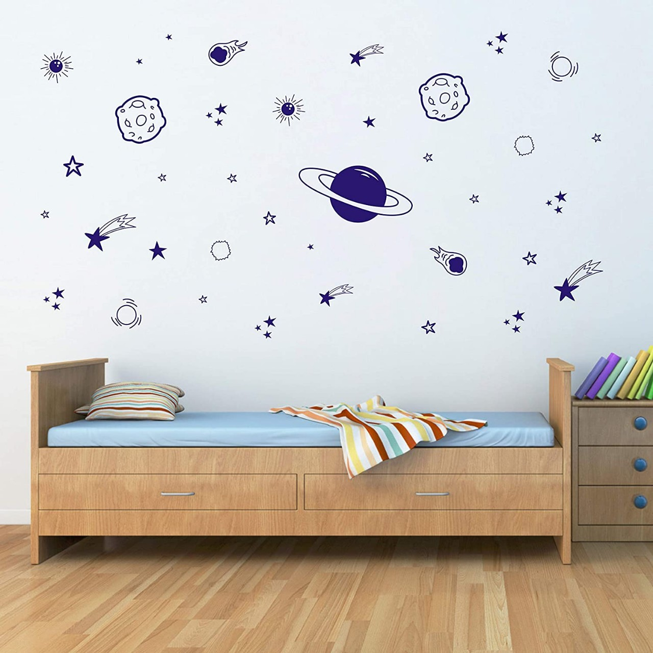 Planet Wall Decal, Boys Room Decor, Outer Space Wall Decals, Star Wall Stickers, Vinyl Wall Decals