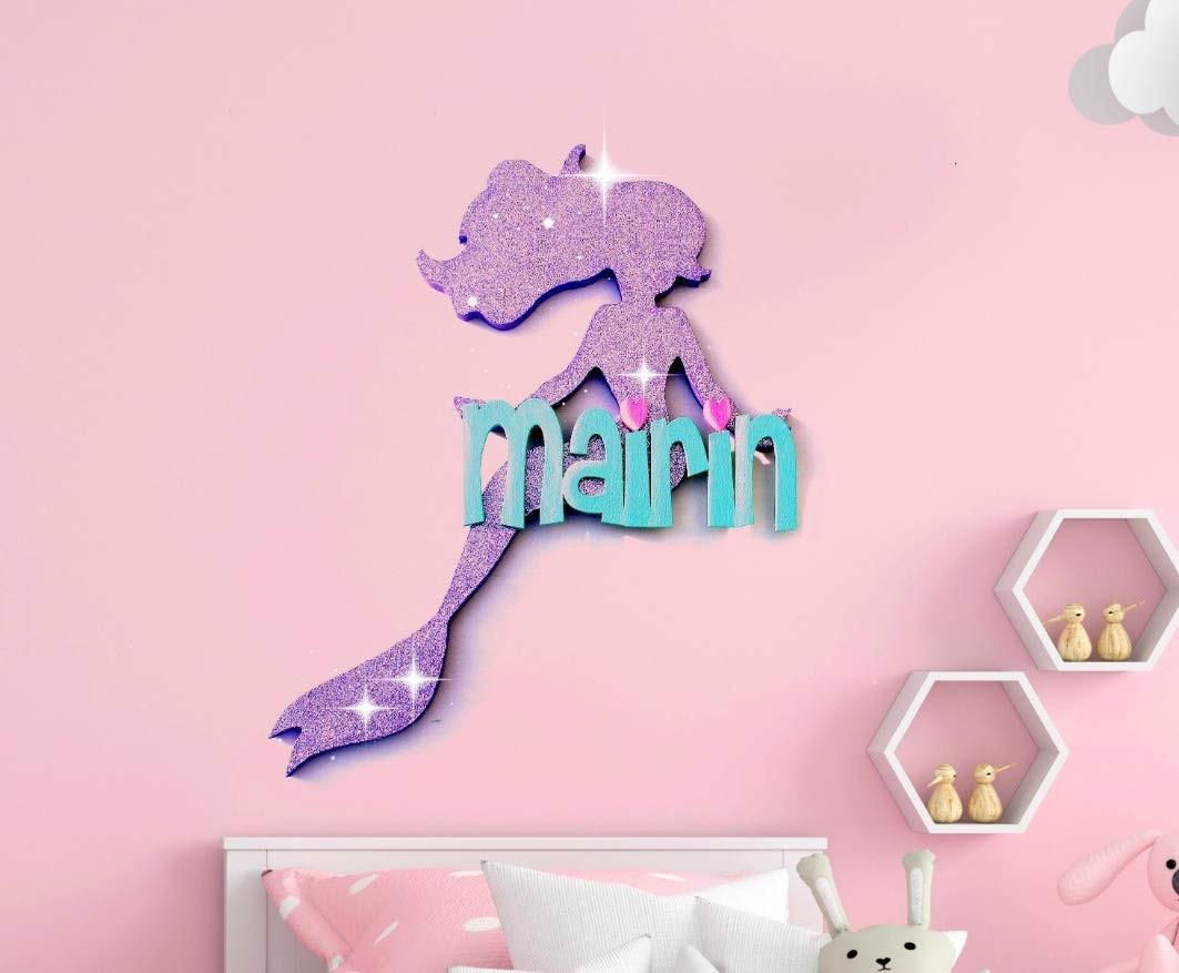 Purple Mermaid Baby Nursery Wall Art - Personalized Baby Name Kids Room Decor - Mermaid Wall Hanging
