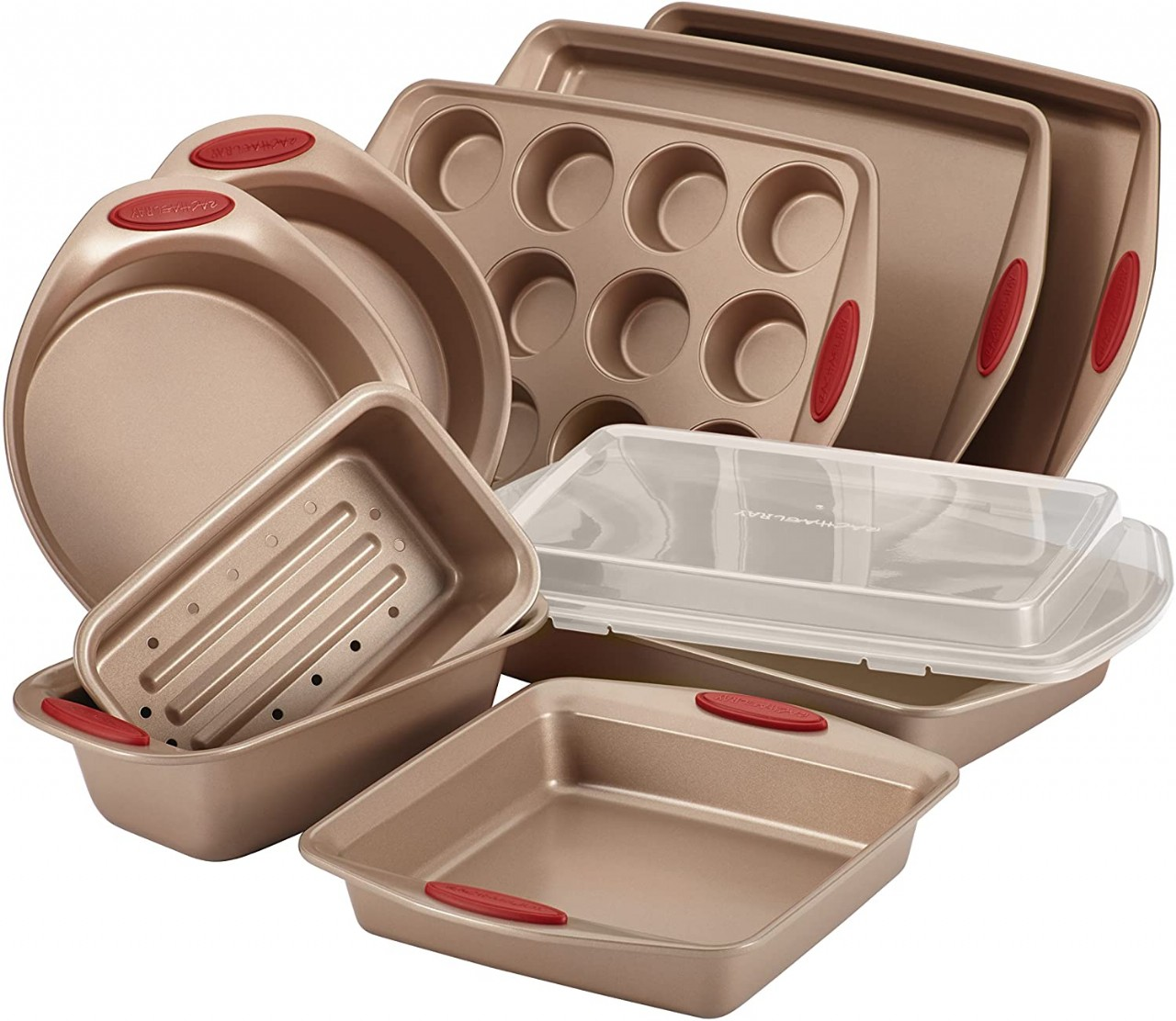 Rachael Ray 52410 Cucina Nonstick Bakeware Set with Baking Pans, Baking Sheets, Cookie Sheets, Cake