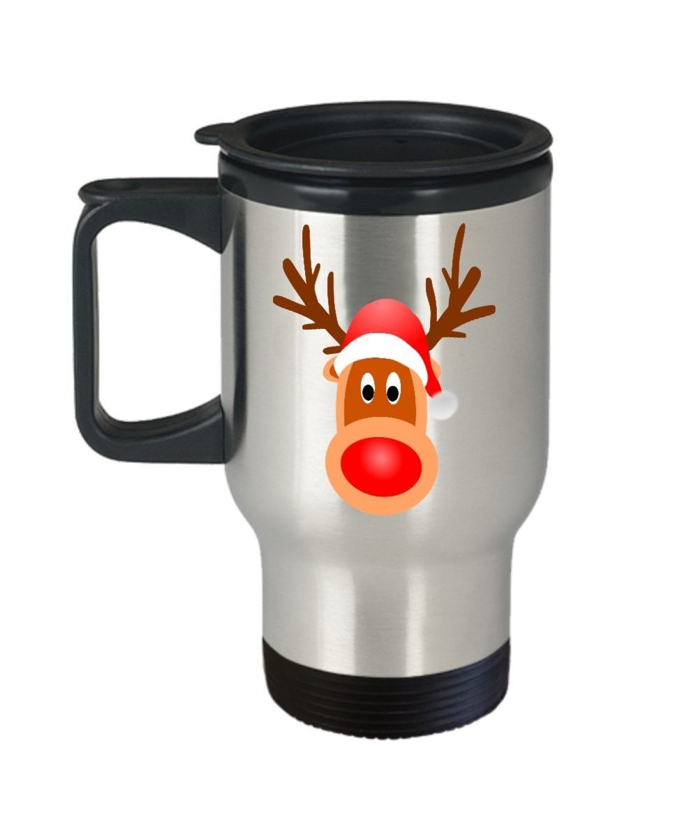 Reindeer Rudolph Holiday Winter Christmas - Coffee Tea Travel Mug Gift