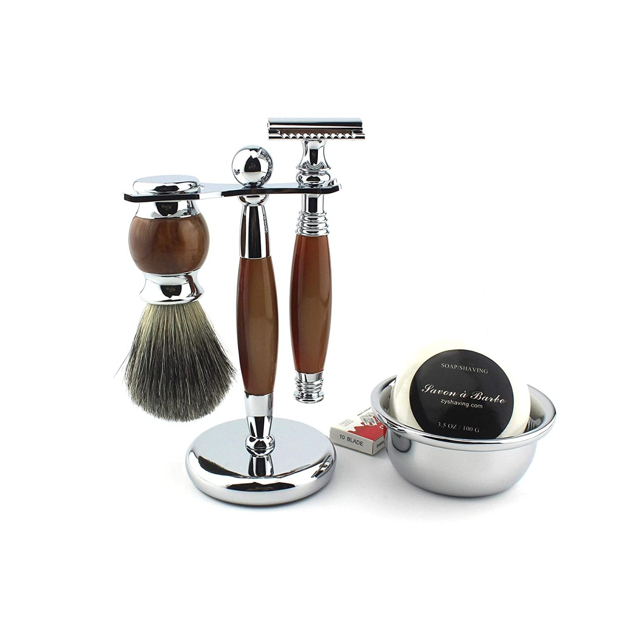 Shaving Gift Kit for Men,Yunlep Luxury Grooming Wet Shaving Set Including Razor with 10 Replacement