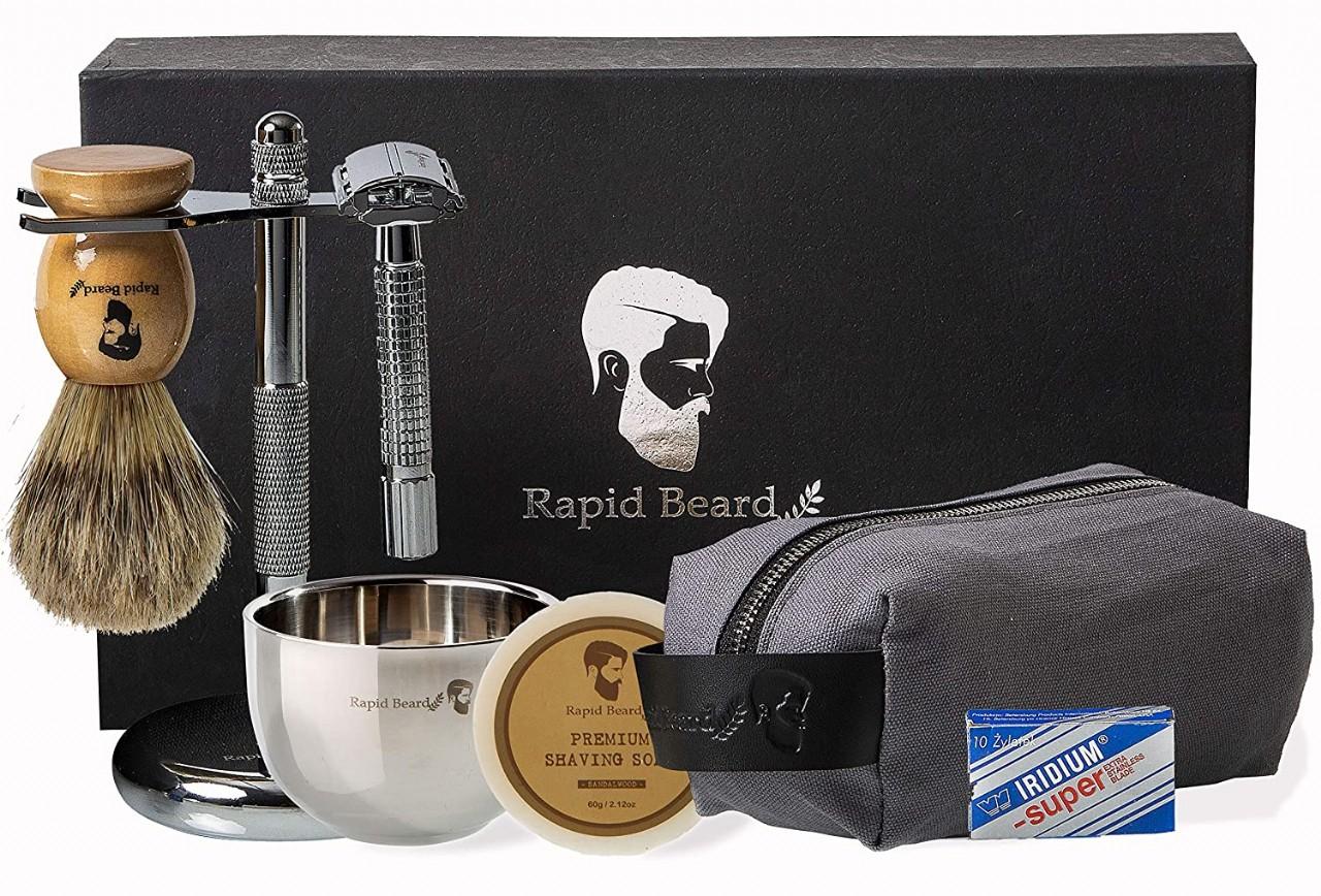 Shaving Kit for Men Wet Shave - Safety Razor with 10 blades, Shaving Badger Hair Brush, Shaving Soap
