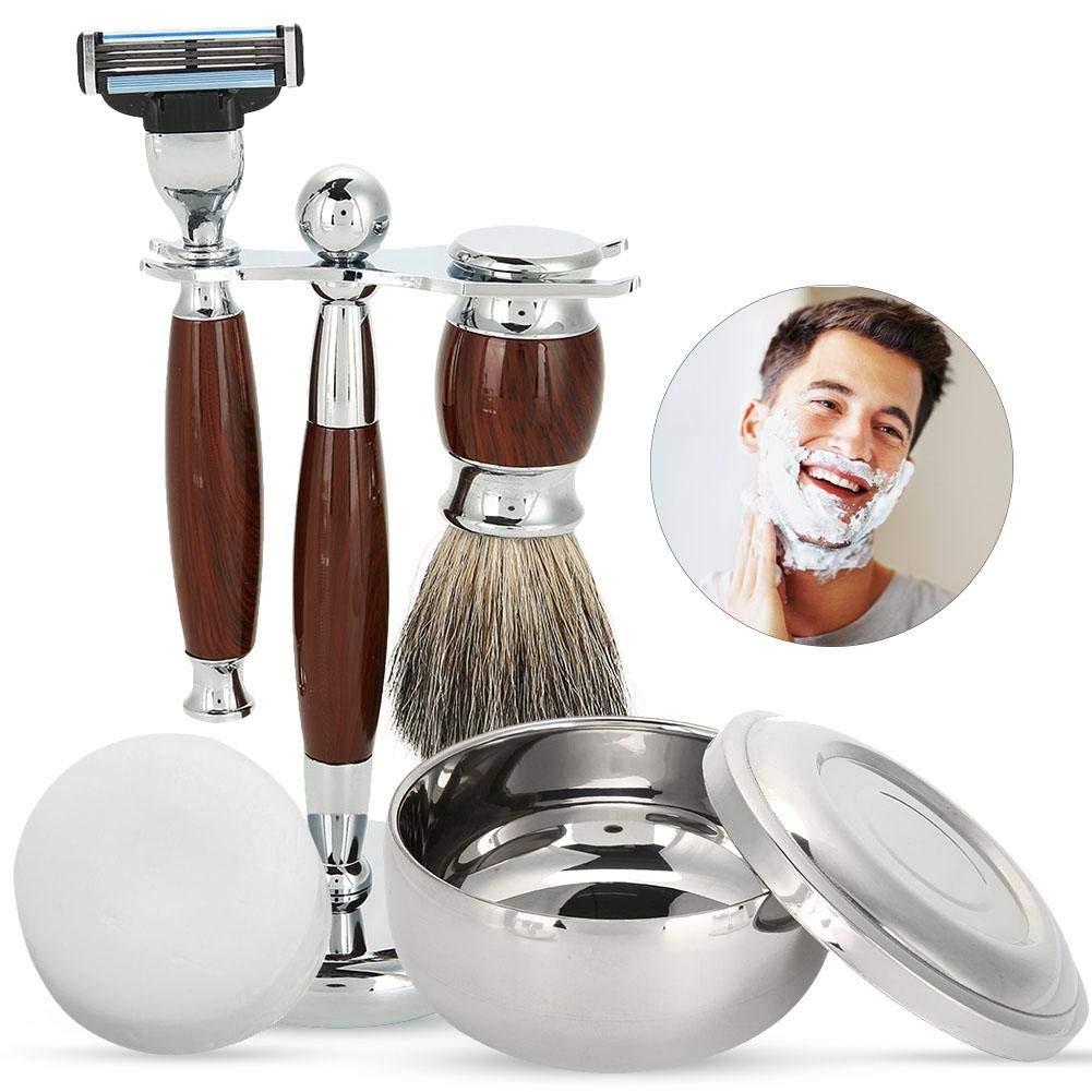 Shaving Sets for Men Gift Luxury Manual Shaver Kit with Beard Cleaning Brush, Bowl, Soap and Brush