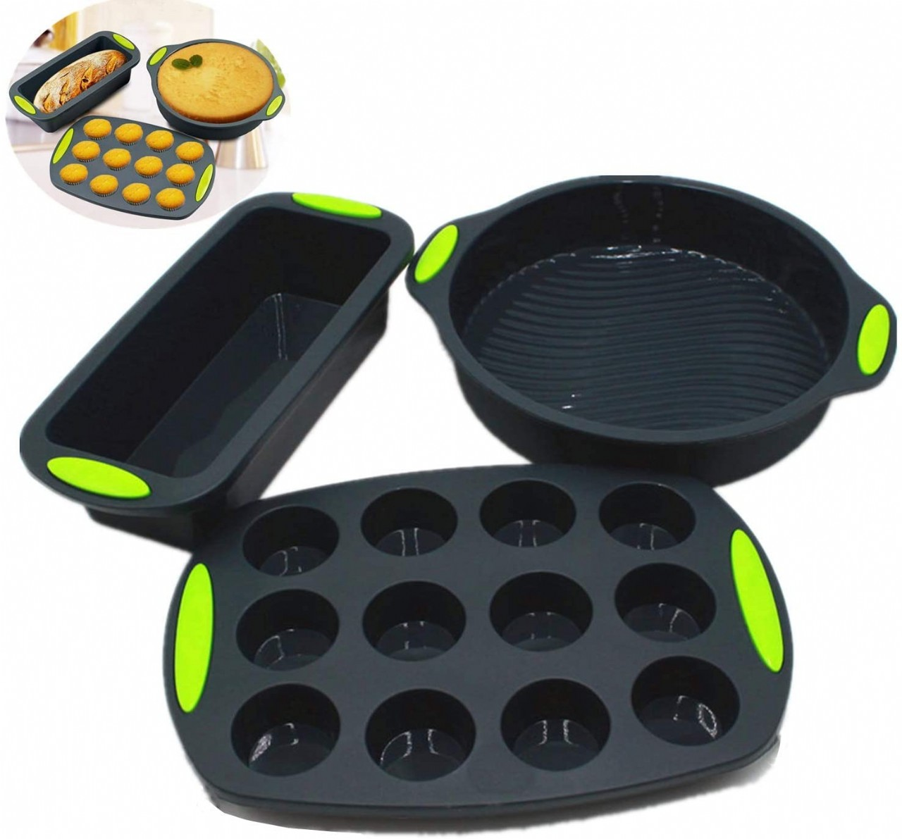 Silicone Bakeware Pan set Cake Molds for Baking Sheet Muffin 12 cup Toast Loaf Bread Pizza Pan Tray