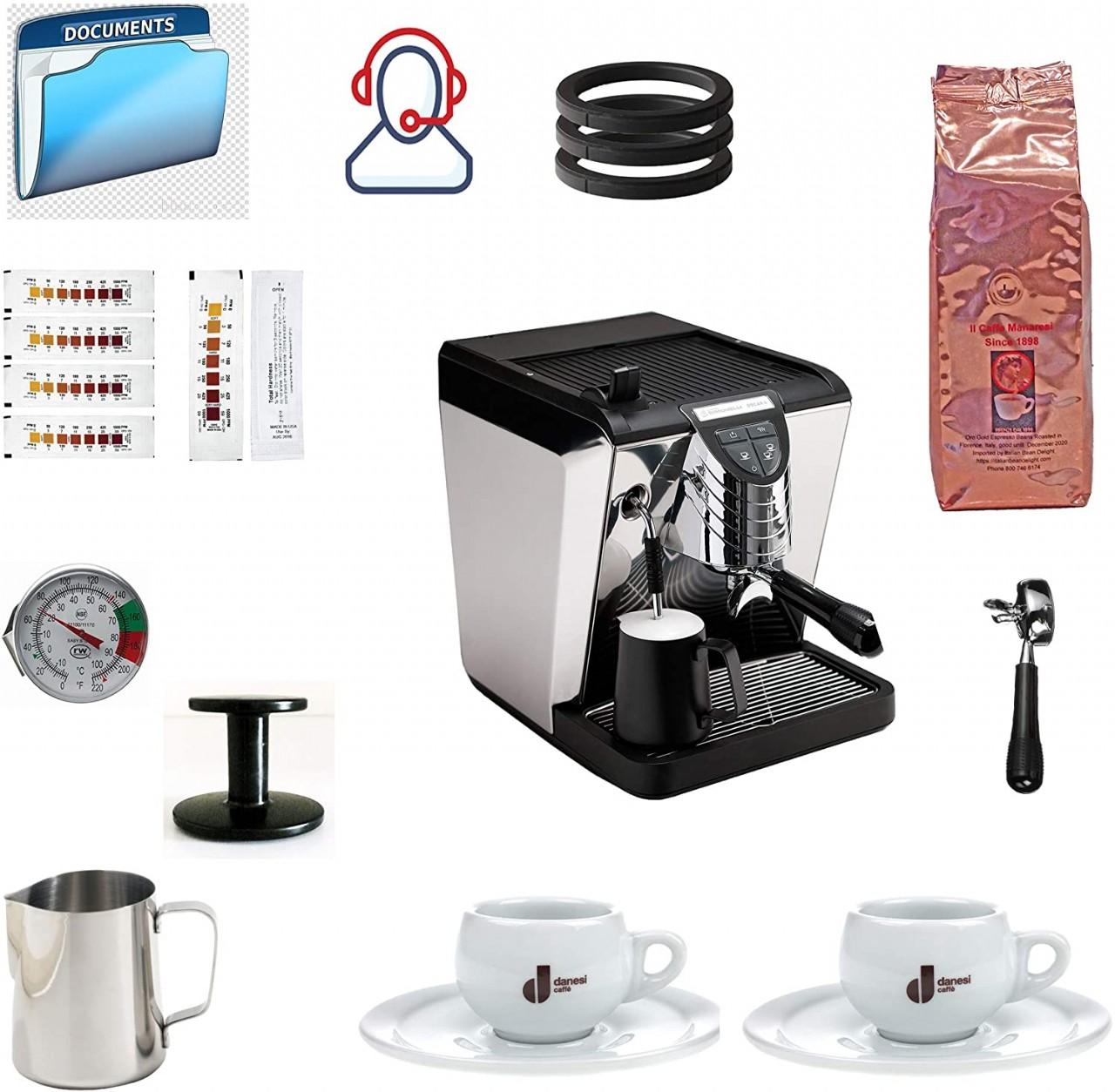 Simonelli Oscar Tank Black Espresso Machine Bundle with Coffee, Latte Gear Accessories (11 Items)