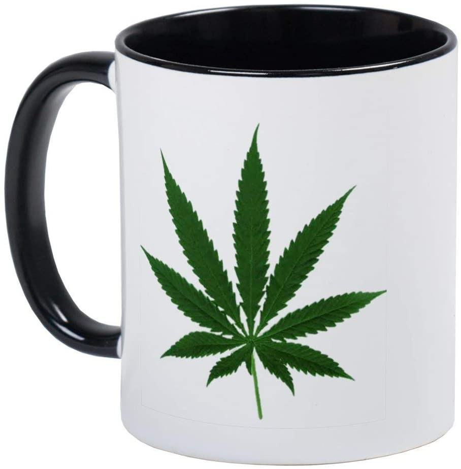 Simple Marijuana Leaf Mug - Ceramic RINGER 11oz Coffee/Tea Cup Gift Stocking Stuffer