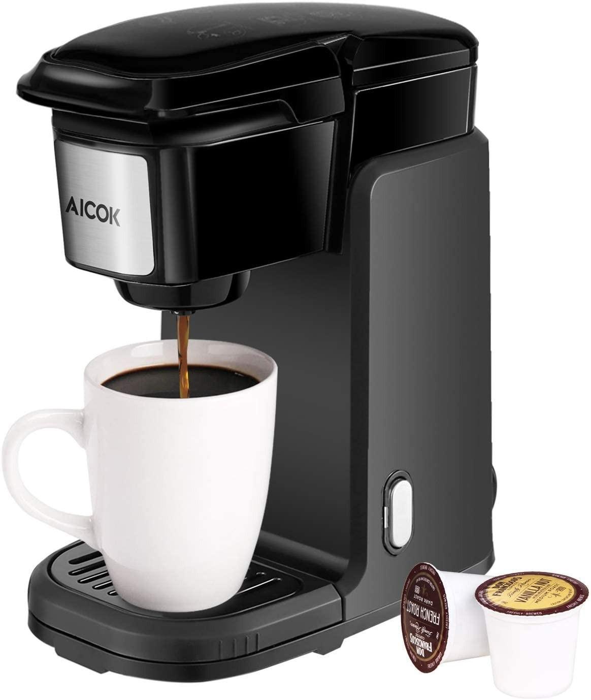 Single Serve Coffee Maker, AICOK Single Cup Coffee Maker, 800W Single Serve Coffee Brewer For K Cup