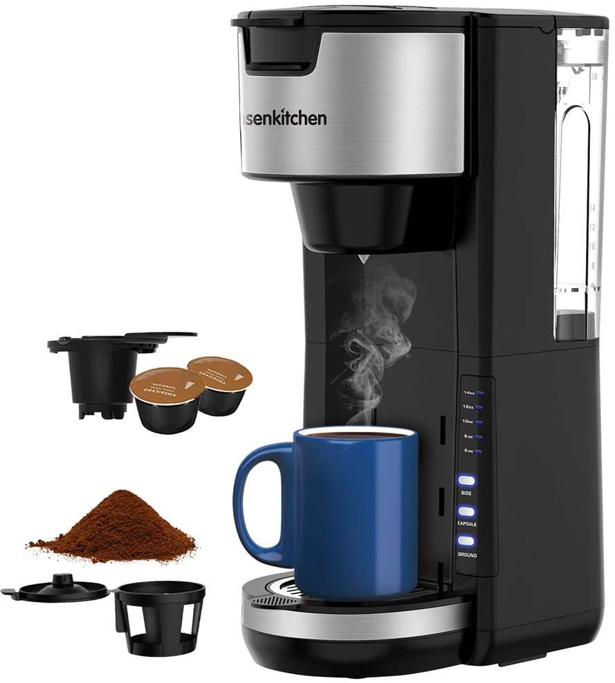 Singles Serve Coffee Makers For K Cup Pod & Coffee Ground, Mini 2 In 1 Coffee Maker Machines 30 Oz