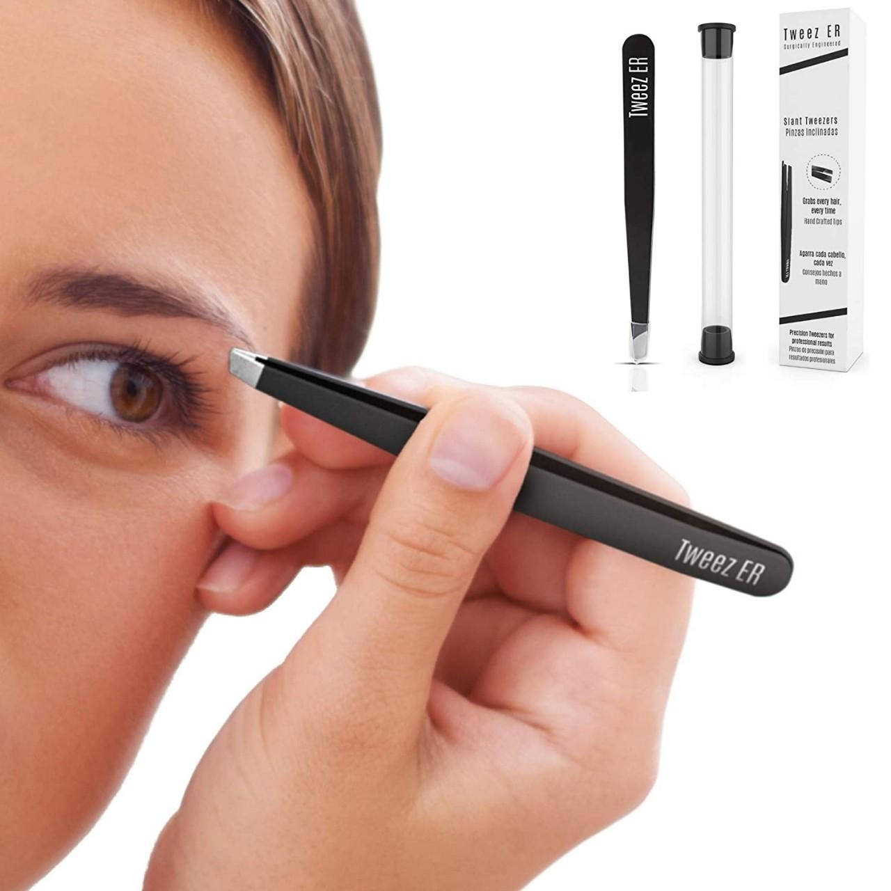 Slant Tweezers | Eyebrow Tweezer | Surgical Grade Hand Filed Slanted Tips for Professional Use, Best