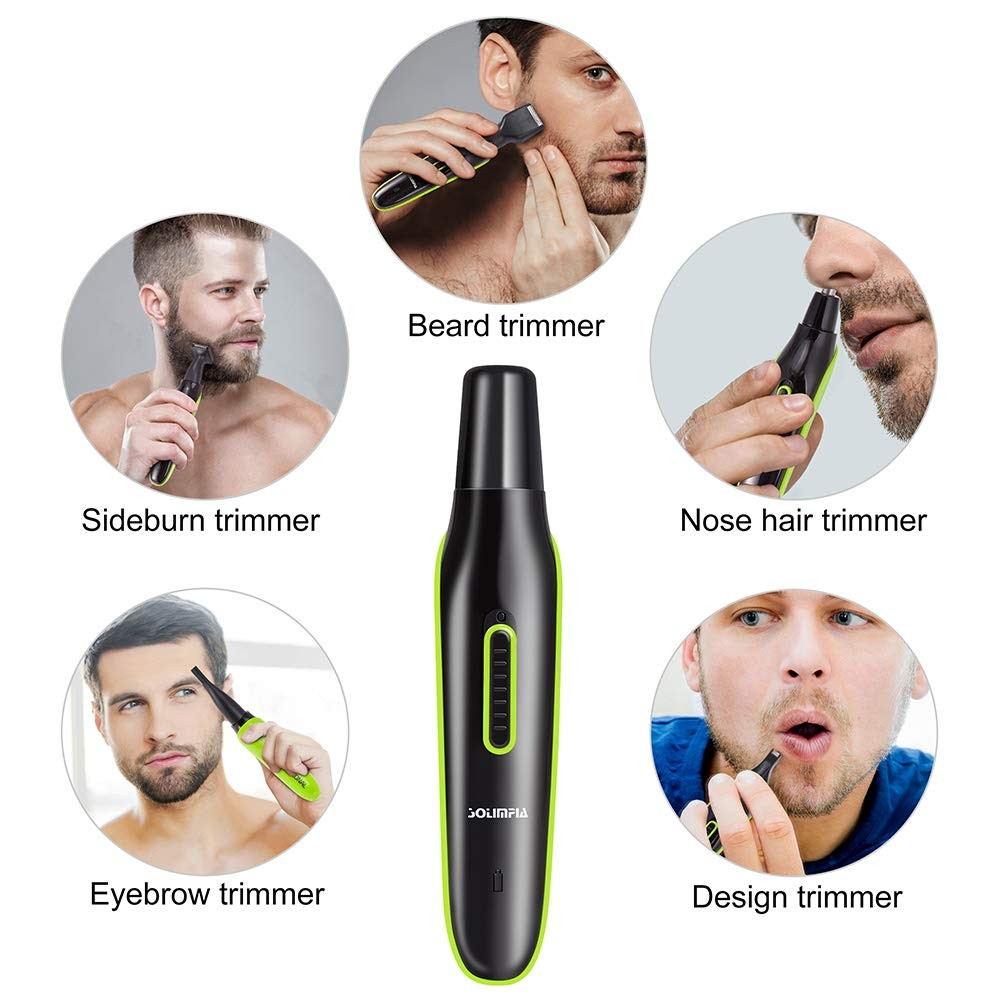 Solimpia Mens Ear and Nose Trimmer Grooming Kit Personal Electric Sideburn Eyebrow Trimmer for Men