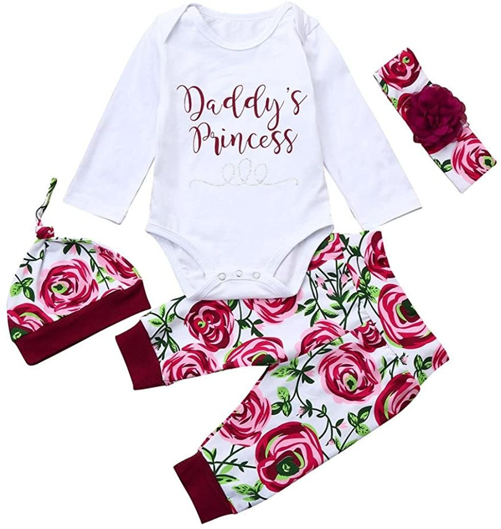 Spring Outfits for Baby Girl, Newborn Infant Girls Cute Floral Long Sleeve Romper Pants Clothes Set