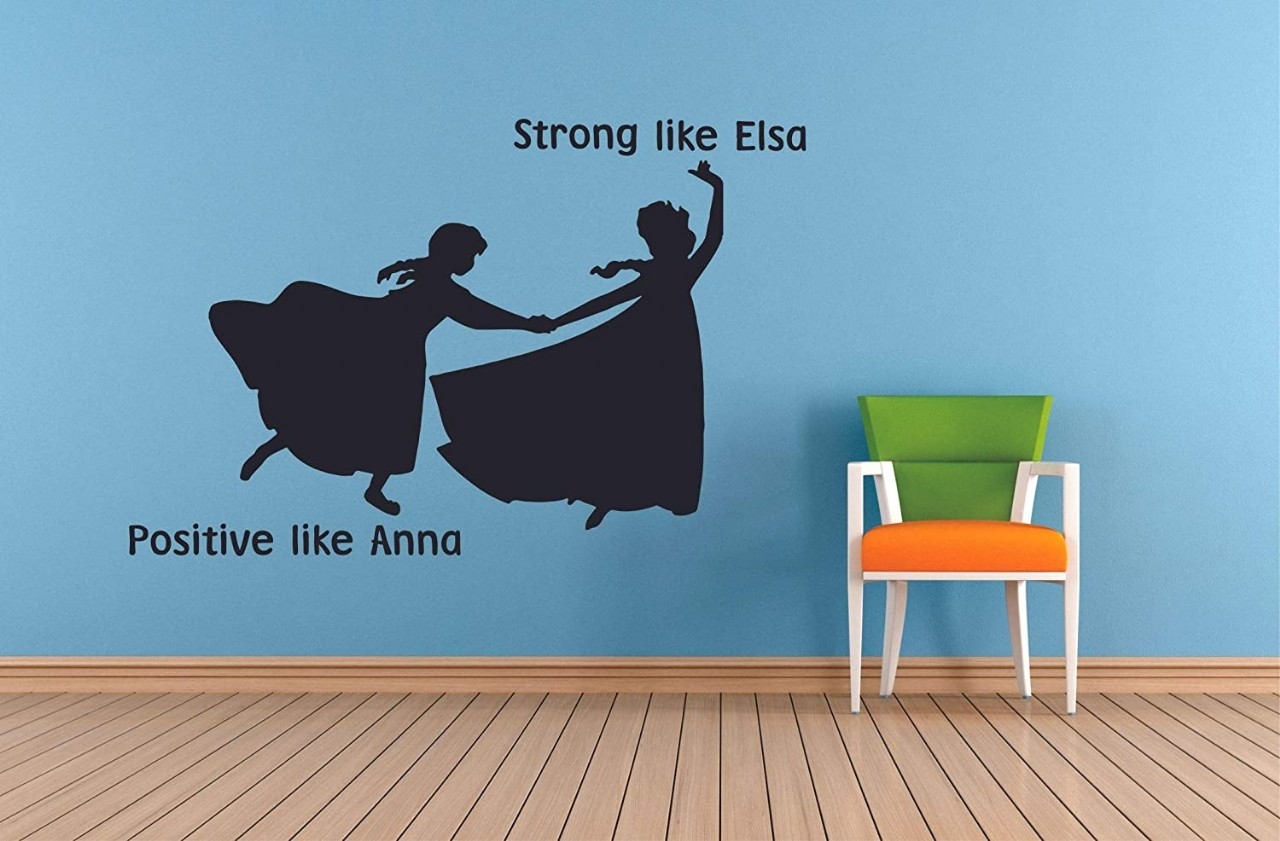 Strong Like Elsa Positive Like Anna Frozen Quotes Wall Decals For Kids Room Decor Girls Children