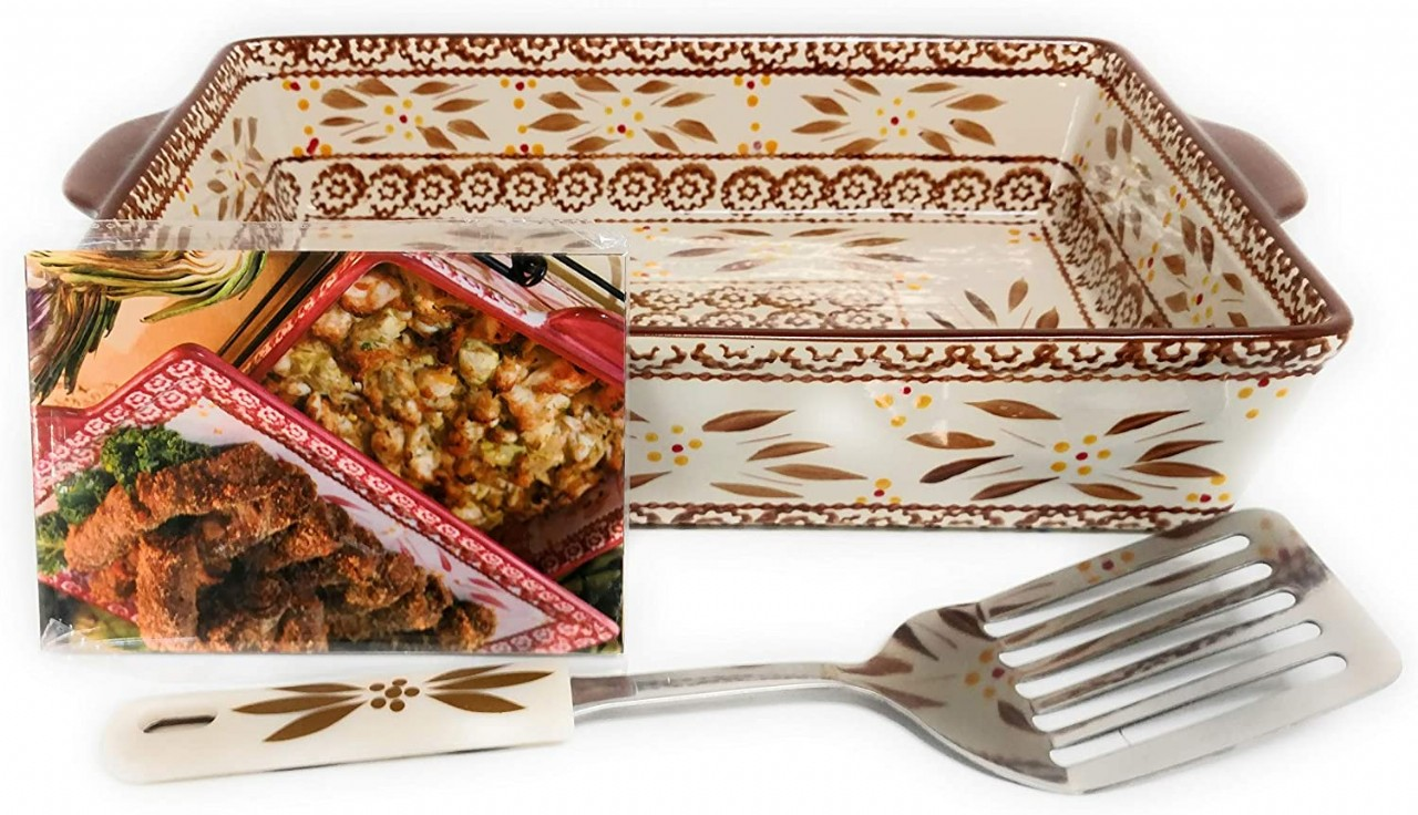 Temp-tations 4 Qt Baker Casserole Dish (13x9) with Plastic Cover, Serving Utensil, Recipes