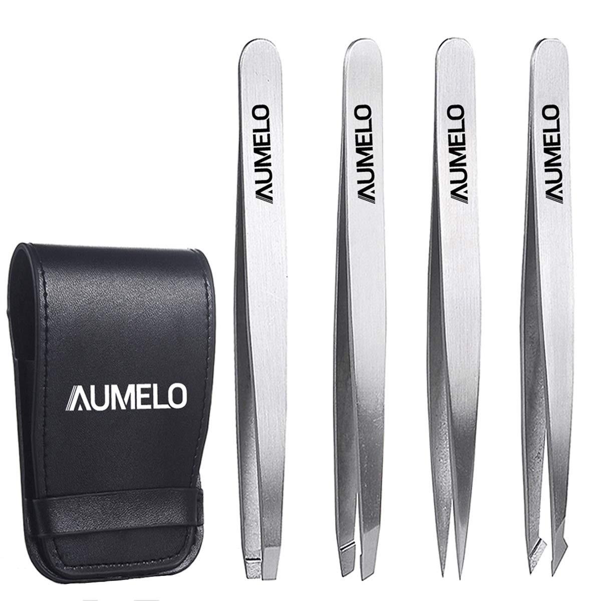 Tweezers Set 4-Piece - AUMELO Professional Stainless Steel Slant Tip and Pointed Eyebrow Tweezers