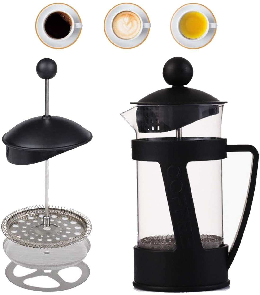 Upgraded French Press Coffee Tea Maker - Thicker Durable Heat Resistant Borosilicate Glass Ground