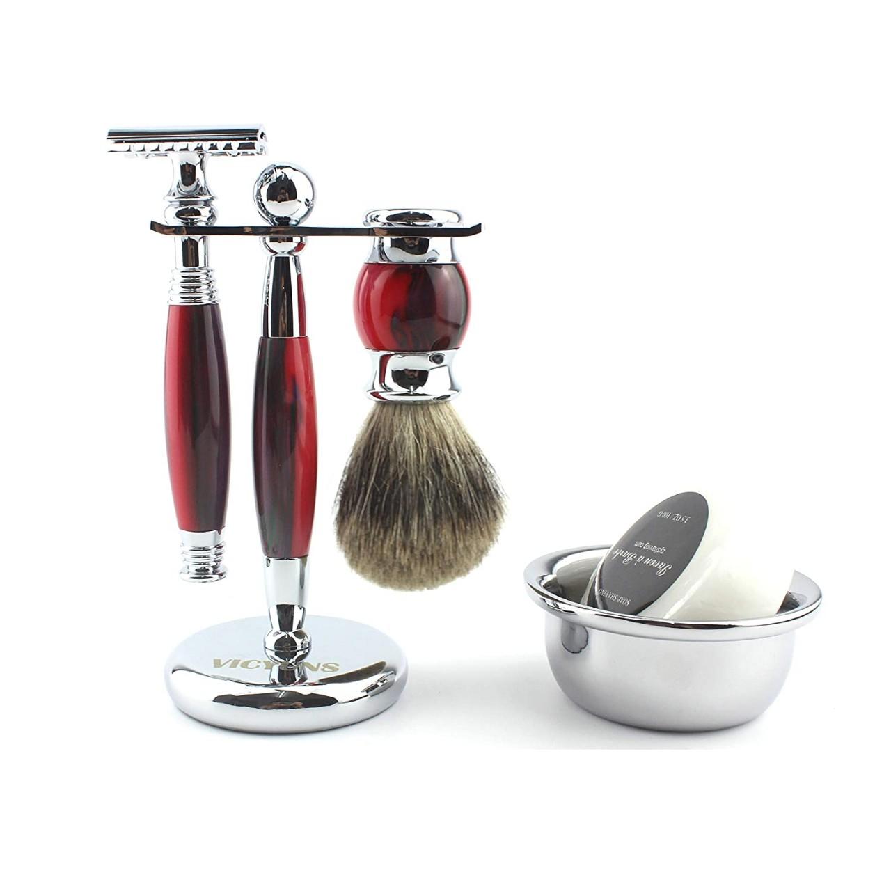 VICYUNS Luxury Grooming Shaving Set for Men Including Double-sided Razor, Allergy Shaving Soap