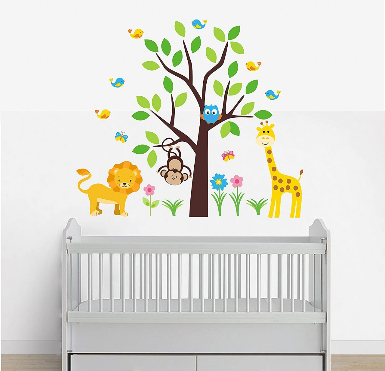 Wall Decals Nursery - Peel and Stick - Safari Animal Wall Decals - Kids Room Stickers - Baby Room