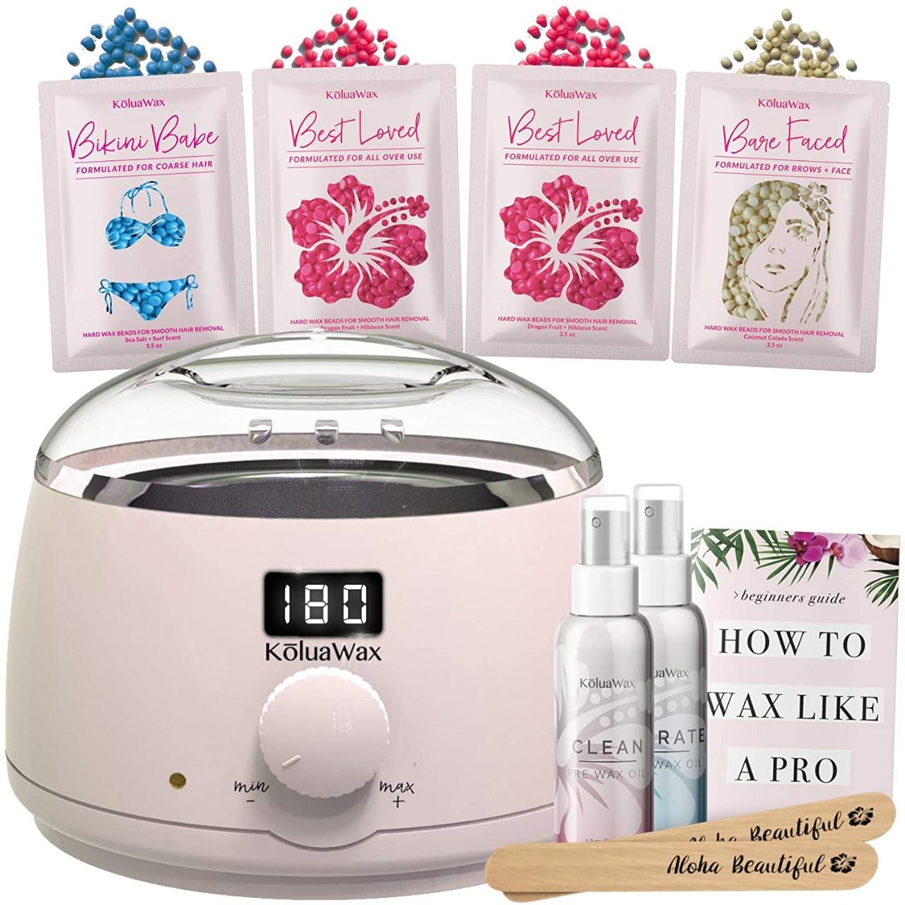 Waxing Kit Digital Wax Warmer Hair Removal with Hard Wax Beans. Kolua Wax Machine- Multiple Wax Bead