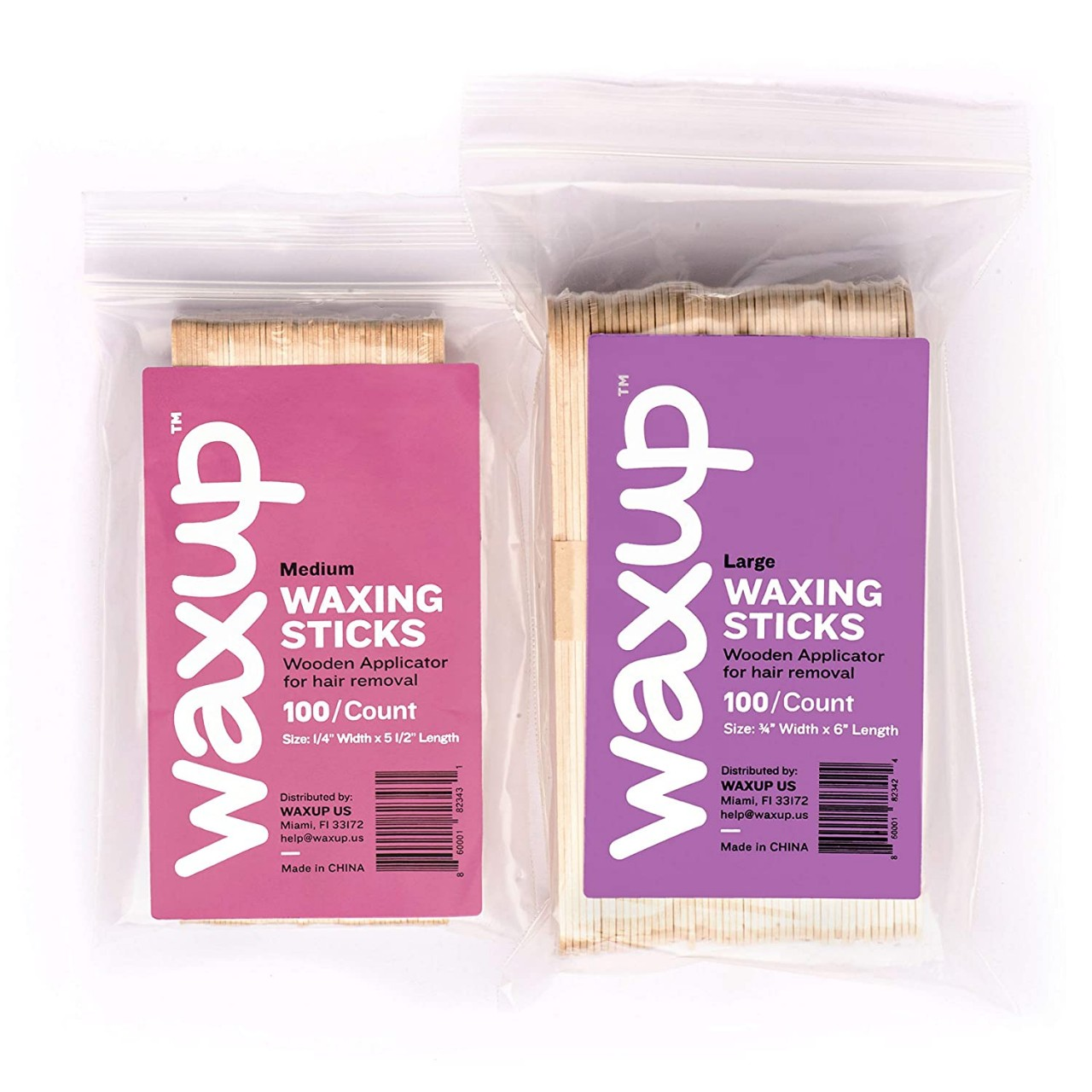 waxup Wax Sticks Wooden Applicators, Assorted Waxing Spatulas for Body, Face, Ear, and Nose Hair
