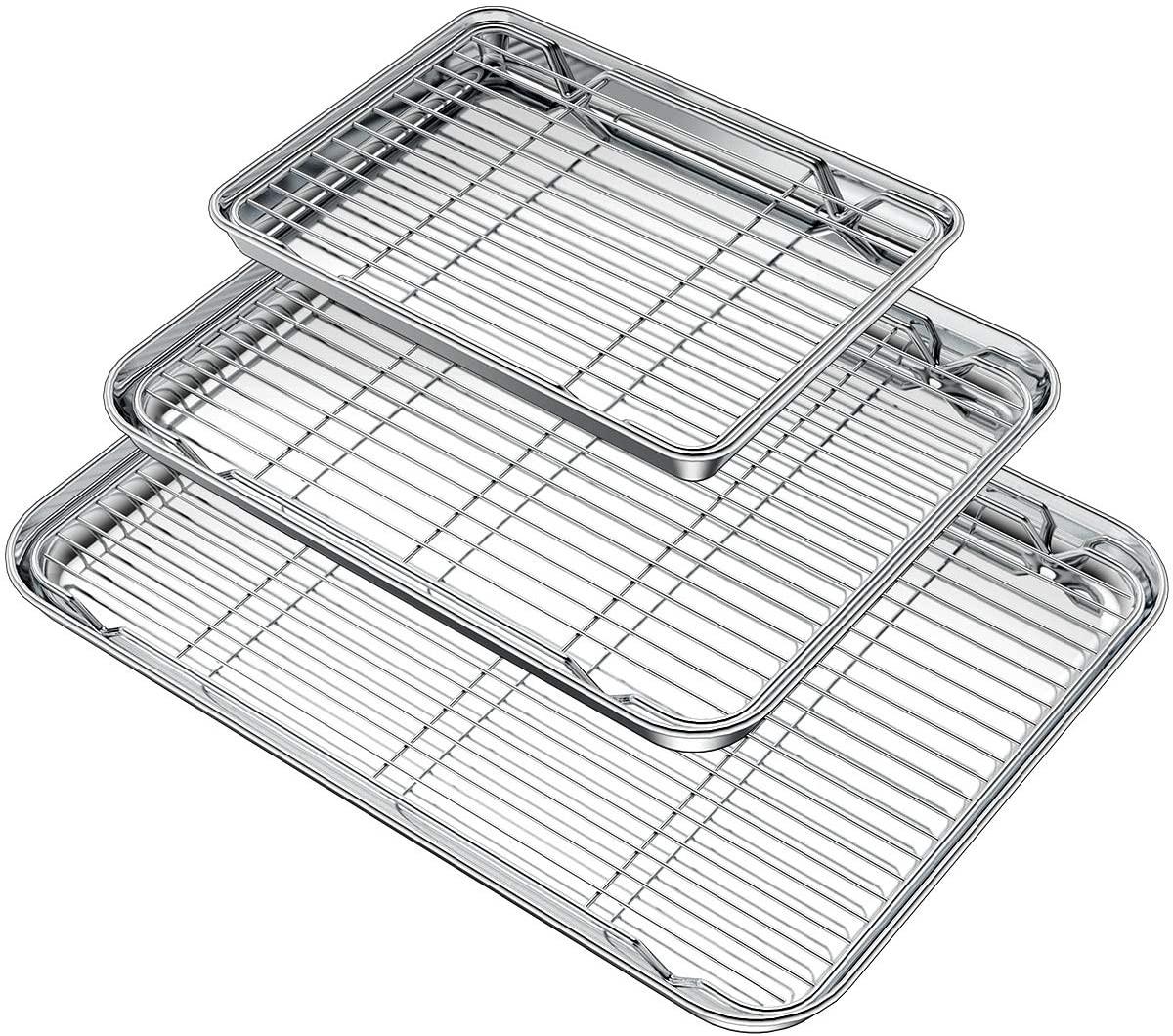 Wildone Baking Sheet with Rack Set (3 Pans + 3 Racks), Stainless Steel Baking Pan Cookie Sheet