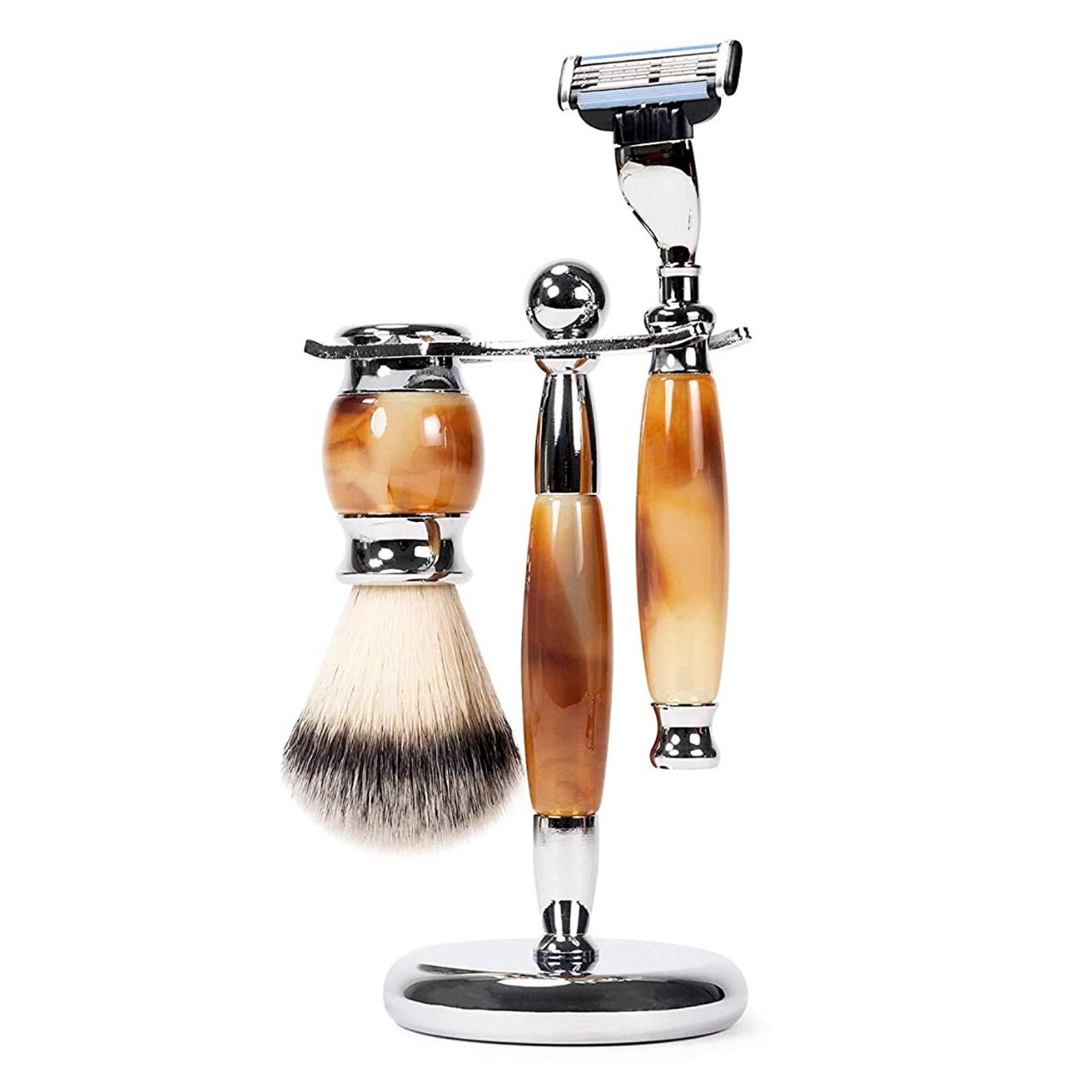 WYZworks Luxury Grooming Set for Men | Real Badger Shaving Brush, Replaceable 3 Blade Razor