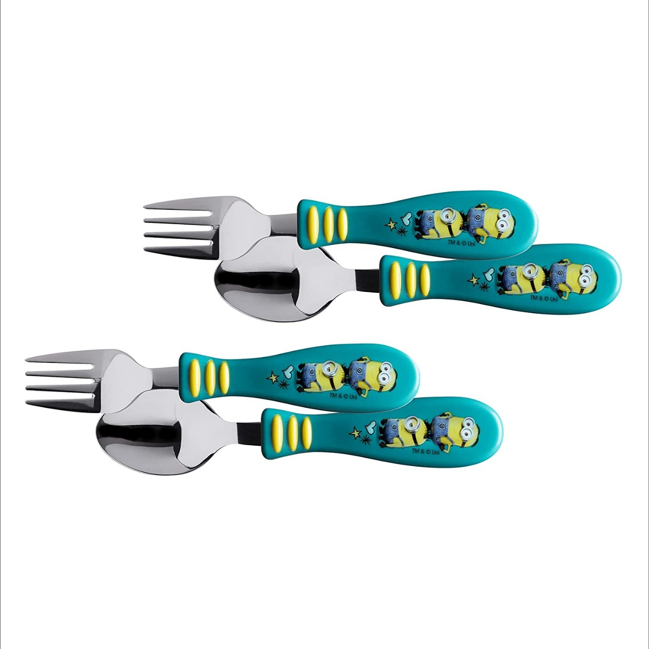 Zak Designs Despicable Me Minions - Kid Flatware Set with Fun Character Art on Both Utensils, Non