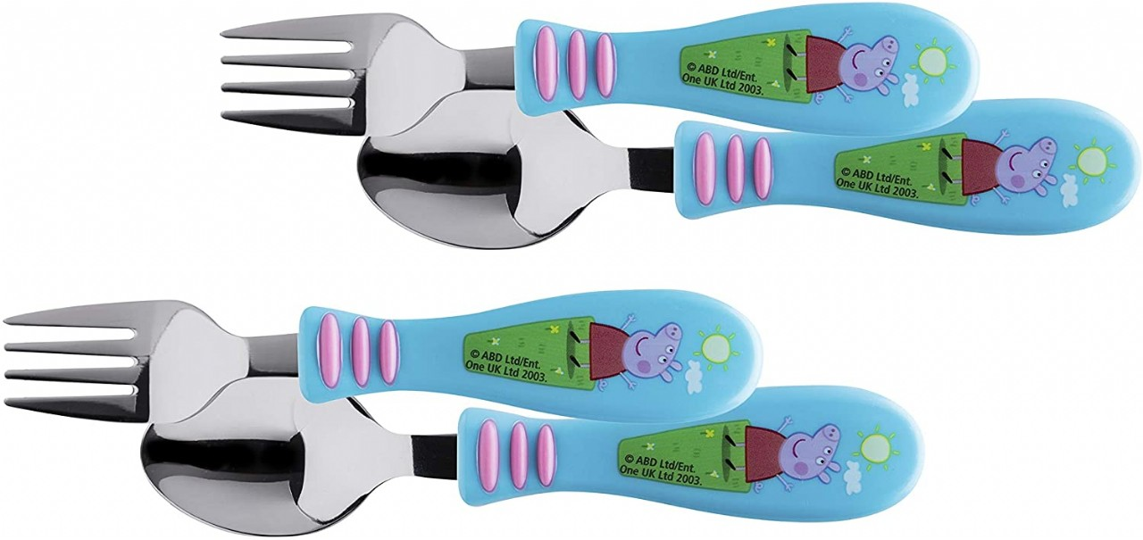 Zak Designs Peppa Pig - Kid Flatware Set with Fun Character Art on Both Utensils, Non Slip Fork