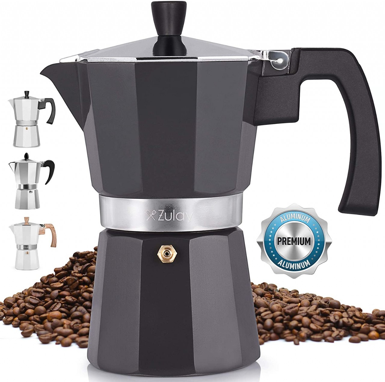 Zulay Classic Stovetop Espresso Maker for Great Flavored Strong Espresso, Classic Italian Style 5.5