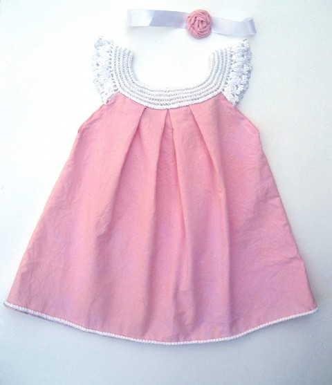 2T-4T Pink Baby Cotton Dress White Crochet Baby Dress Exclusive Design Linen Girls Dress, Linen Baby