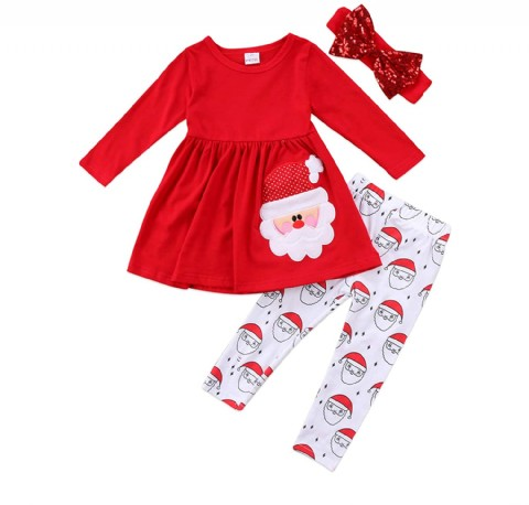 3pc Toddler Kids Baby Girl Clothes Sets Long Sleeve Santa Dress Tops Pants Headband Christmas Outfit