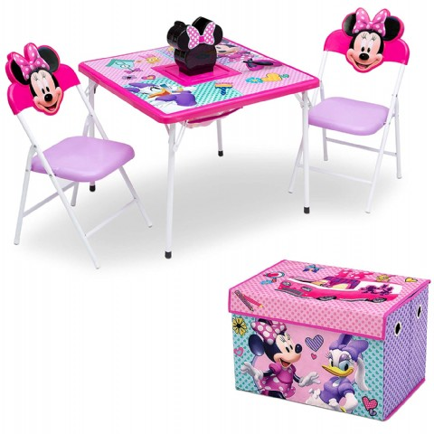 4-Piece Kids Furniture Set (2 Chairs and Table Set & Fabric Toy Box), Disney Minnie Mouse