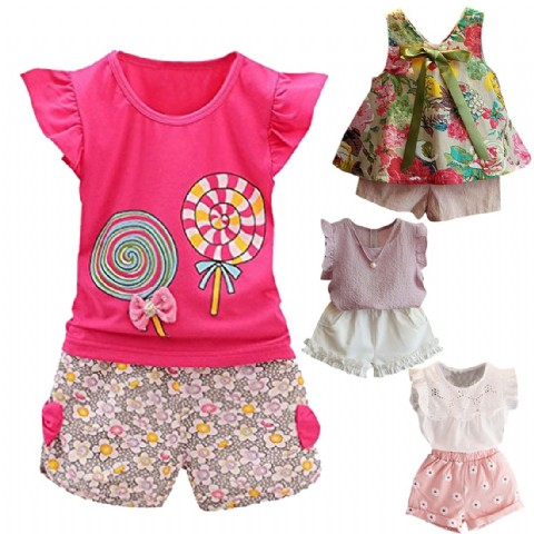 Baby Girl Clothes Summer Tee Short Pants Kids Girls Casual Outfits Lolly
