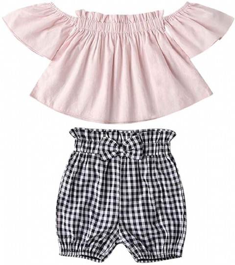 Baby Girls Summer Clothes Set,Infant Baby Girls Off Shoulder Floral Print Tops+Bowknot Denim Shorts